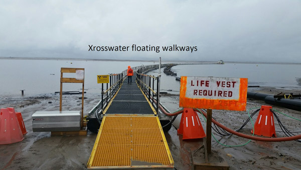 Xrosswater walkway with access ramp